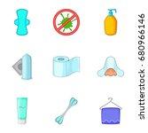 hygiene items icons set.... | Shutterstock .eps vector #680966146