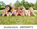 multicultural group of children ... | Shutterstock . vector #680968972