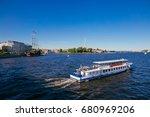 the motor vessel on the neva... | Shutterstock . vector #680969206
