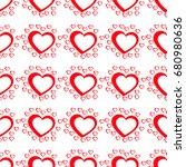 simple hearts seamless vector...   Shutterstock .eps vector #680980636
