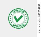 approved rubber stamp vector... | Shutterstock .eps vector #680983732
