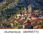 view of the famous village of... | Shutterstock . vector #680985772