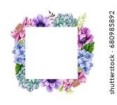 square flower frame   Shutterstock . vector #680985892