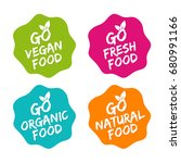 set of food badges. vegan ... | Shutterstock .eps vector #680991166