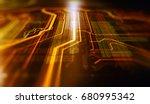 orange and blue technology... | Shutterstock . vector #680995342