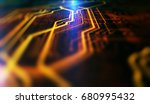 orange and blue technology... | Shutterstock . vector #680995432