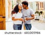 couple of lovers kissing ... | Shutterstock . vector #681005986