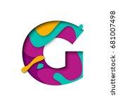 paper cut letter g. realistic... | Shutterstock .eps vector #681007498