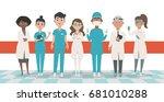 doctors team vector...   Shutterstock .eps vector #681010288