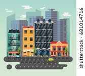 town or city landscape with... | Shutterstock .eps vector #681014716