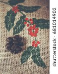 top view of coffee beans mediam ... | Shutterstock . vector #681014902