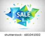 raster copy sale faceted 3d... | Shutterstock . vector #681041002