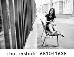 brunette girl at black dress ... | Shutterstock . vector #681041638