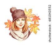 Autumn Girl. Watercolor...
