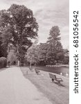 Small photo of Footpath alongside River, Stratford Upon Avon, England, UK in Black and White Sepia Tone