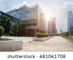 empty footpath with modern... | Shutterstock . vector #681061708