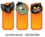 Halloween Characters in Vertical Banner - stock vector