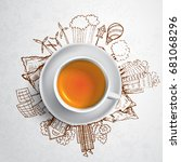 black tea with circle ecology... | Shutterstock .eps vector #681068296