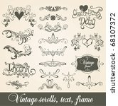 vintage scrolls  text  frame.... | Shutterstock .eps vector #68107372