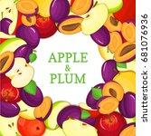ripe plum vertical seamless... | Shutterstock . vector #681076936