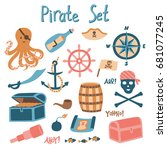 pirate set. isolated vector... | Shutterstock .eps vector #681077245