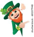 leprechaun holding blank sign.... | Shutterstock .eps vector #68107948