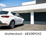 white car in front of modern... | Shutterstock . vector #681089242