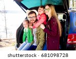 family going on a car trip | Shutterstock . vector #681098728