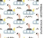 seamless pattern with cartoon... | Shutterstock .eps vector #681098866