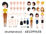 woman character creation set.... | Shutterstock .eps vector #681099658