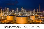 aerial view oil and gas tank...   Shutterstock . vector #681107176