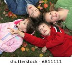 children relaxing on autumn... | Shutterstock . vector #6811111