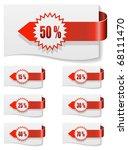 red discount labels bent around ...