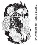 hand drawn koi fish with flower ... | Shutterstock .eps vector #681116362