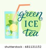 mint leaf  ice cubes and lime... | Shutterstock .eps vector #681131152