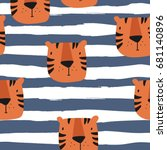 vector print with tiger for baby | Shutterstock .eps vector #681140896