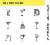 vector illustration of 9 drinks ... | Shutterstock .eps vector #681145606