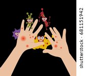 hands touch virus | Shutterstock .eps vector #681151942