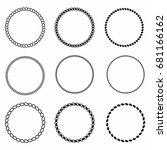 rope frame. set of round vector ... | Shutterstock .eps vector #681166162