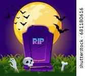 cartoon old gravestone at night ... | Shutterstock .eps vector #681180616