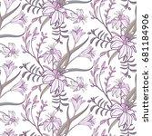 lily flowers seamless pattern.