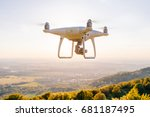 copter drone flying at sunset... | Shutterstock . vector #681187495