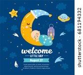 baby shower card. magic kids... | Shutterstock .eps vector #681194332