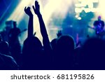 crowd with raised hands at... | Shutterstock . vector #681195826