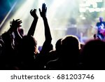 crowd with raised hands at... | Shutterstock . vector #681203746