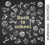 hand drawn school symbol on... | Shutterstock .eps vector #681210022