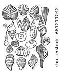 sea shells outline illustration ... | Shutterstock .eps vector #681211042