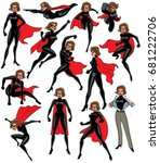 super heroine over white... | Shutterstock .eps vector #681222706