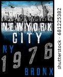 new york typography t shirt... | Shutterstock . vector #681225382