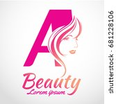 abstract letter a logo  beauty... | Shutterstock .eps vector #681228106